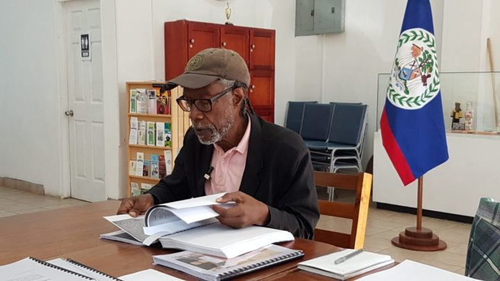 Son of Samuel Haynes researches at the Belize National Heritage Library