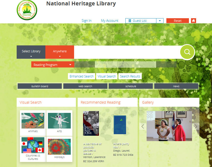 Screenshot of the National Collection catalog homepage